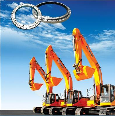 Excavator Excavator is usually using internal quenched gear single row four-point contact ball slewing bearing. This type of slewing bearing can bear axial load, radial load and tilting moment and can withstand large impact. Rotation is flexible and stable.