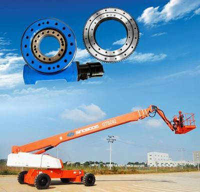 Aerial platform vehicles Aerial  platform vehicles usually uses single row four point contact ball slewing bearing which is designed in compact structure. This type slewing bearing can bear axial force, radial force and tilting moment at the same time, which is widely used in  small and medium-sized construction machinery.